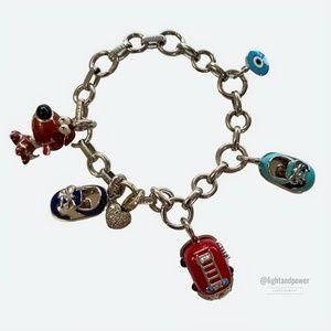 Aaron Basha White Gold Baby Shoe Charm Bracelet